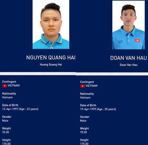 Rất nhiều vận động viên đã bị nhập sai thông tin trên trang chủ của SEA Games 30, trong đó có cả cầu thủ U22 Việt Nam.
