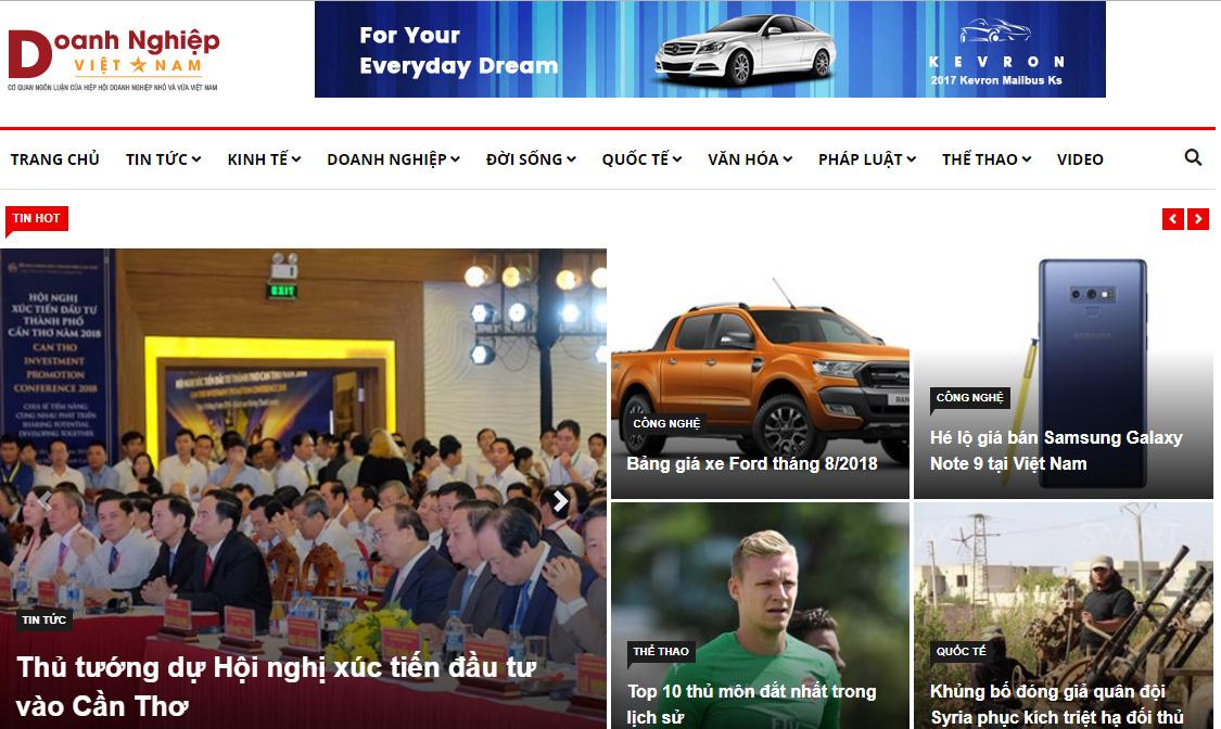 Giao diện mới Tạp chí điện tử Doanh nghiệp Việt Nam.