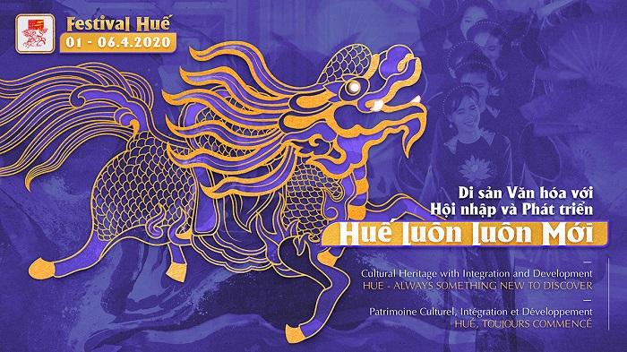 Poster chính thức của Festival Huế 2020 với biểu tượng chính là hình ảnh Long Mã