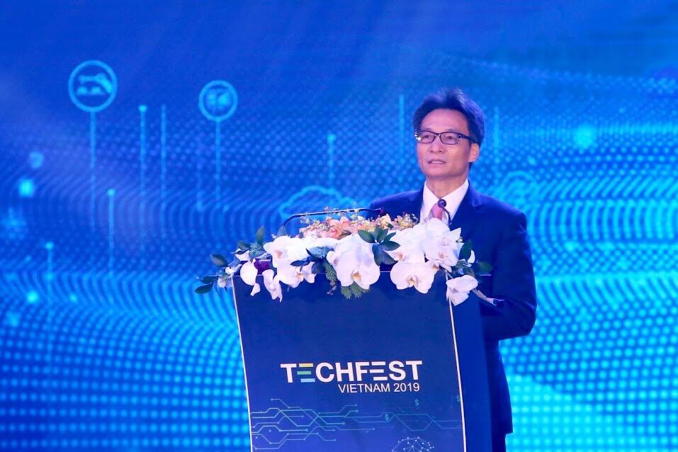 Phó Thủ tướng Vũ Đức Đam phát biểu tại lễ khai mạc Techfest 2019.