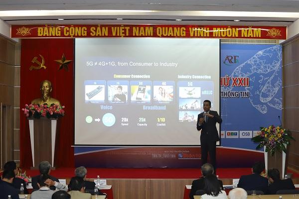 """TS. Mohamed Madkour, Phó Chủ tịch phụ trách giải pháp và kinh doanh các Mạng di động Toàn cầu của Huawei đã có bài thuyết trình có chủ đề """"Để 5G cất cánh tại Việt Nam""""."""