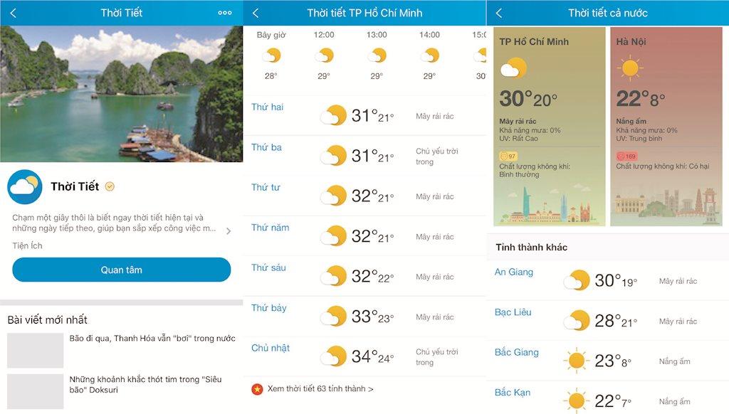 Người dùng Zalo có thể theo dõi chất lượng không khí và chỉ số UV theo thời gian thực