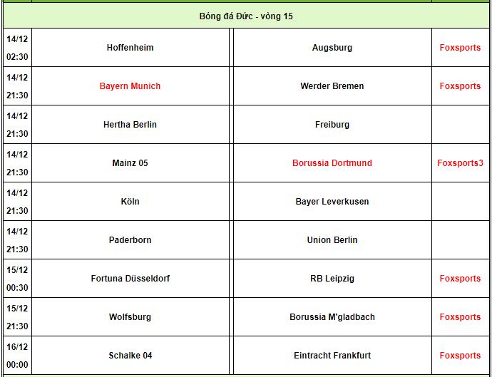 Lịch thi đấu Bundesliga. Ảnh: 24h.