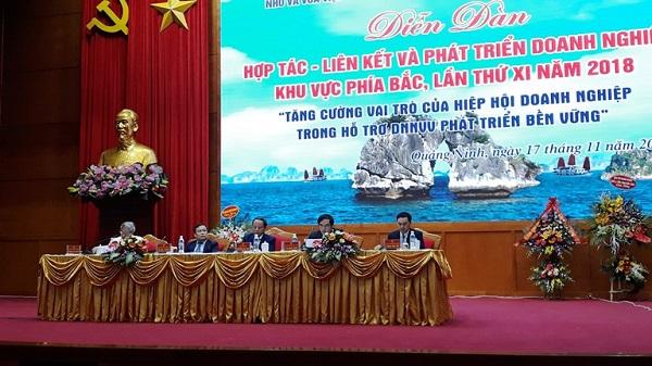 Diễn đàn Hợp tác - Liên kết và phát triển doanh nghiệp khu vực phía Bắc năm 2018 diến ra tại Quảng Ninh.