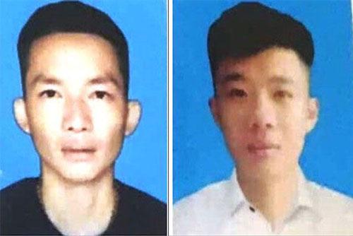 Đối tượng Hồ Sỹ Quyết (áo đen) và Trương Văn Nam.