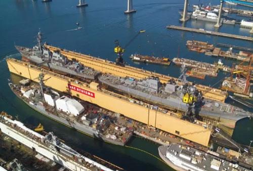 Một trong những ụ nổi cỡ lớn được BAE Systems sử dụng để bảo dưỡng tàu chiến cho Hải quân Mỹ hiện tại có khả năng nâng các tàu với trọng tài tối đa 55.000 tấn. Nguồn ảnh: QQ.