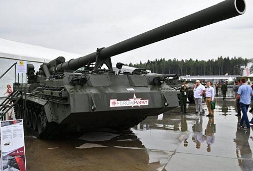 Phiên bản mới nhất của khẩu pháo tự hành 2S7 Pion (hay Peony - Hoa Mẫu Đơn trong tiếng Nga) hiện đang được quân đội Nga tiến hành thử nghiệm gấp rút. Nguồn ảnh: Sputnik.