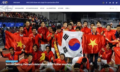 Bóng đá Việt Nam được vinh danh trên trang chủ của AFC