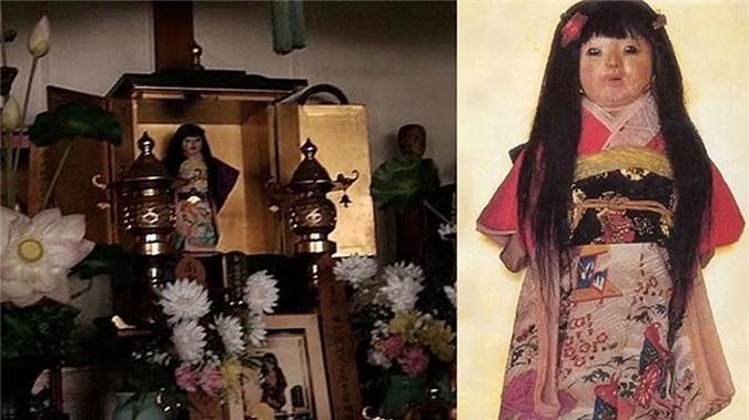 Búp bê Okiku được đặt trong ngôi đền Mannenji ở Hokkaido.