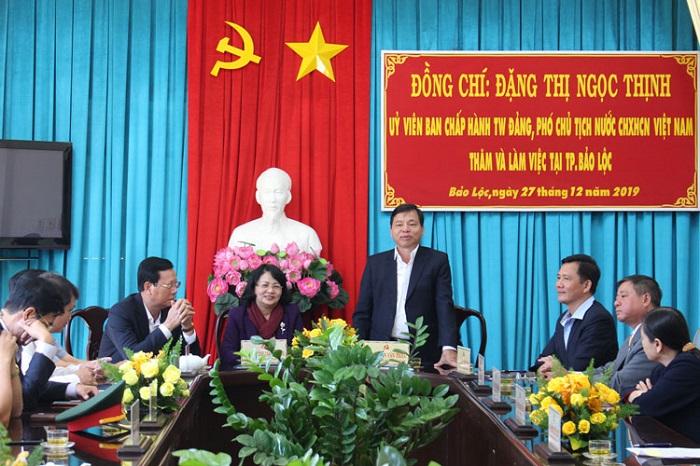 ông Nguyễn Văn Triệu, UVBTV Tỉnh ủy, Bí thư Thành ủy Bảo Lộc kiến nghị nhiều nội dung quan trọng với Phó Chủ tịch nước và  Trung ương
