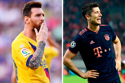 Messi đang kém khá xa Lewandowski (phải).