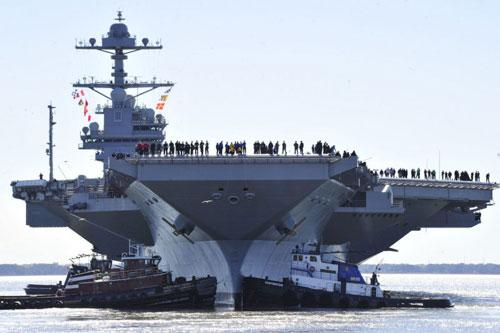 Tàu sân bay USS Gerald R. Ford của Hải quân Mỹ đã được đặt lườn từ năm 2009, hạ thuỷ hồi năm 2013 nhưng tới năm 2017 mới được đưa vào nhập biên. Nguồn ảnh: USNavy.