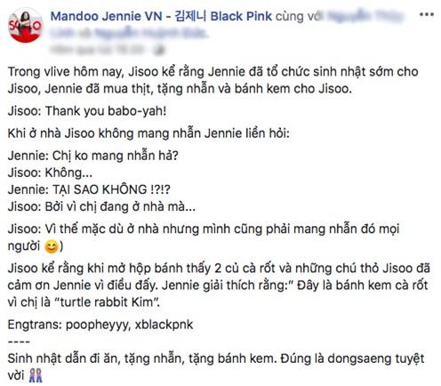 """Jisoo thắc mắc vì được tặng bánh có hình… củ cà rốt thì nhận được câu trả lời vừa """"mặn"""" vừa cute của Jennie: Fan đẩy thuyền cũng đúng mà! - Ảnh 2."""
