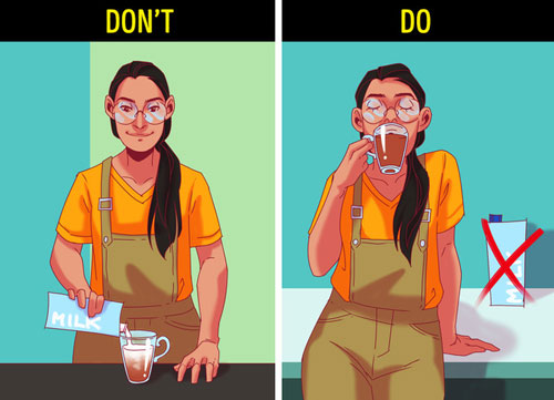 Tránh uống đồ uống có nhiều sữa và cho thêm đường