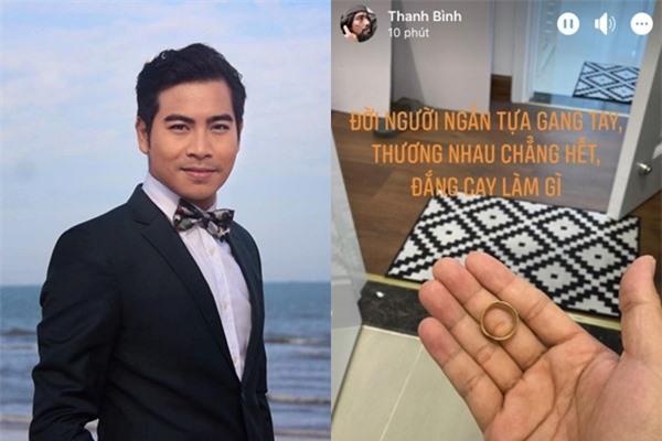 Nam diễn viên Thanh Bình bất ngờ đăng bức ảnh chiếc nhẫn vàng đặt ngay ngắn trên tay cùng dòng trạng thái ẩn ý.