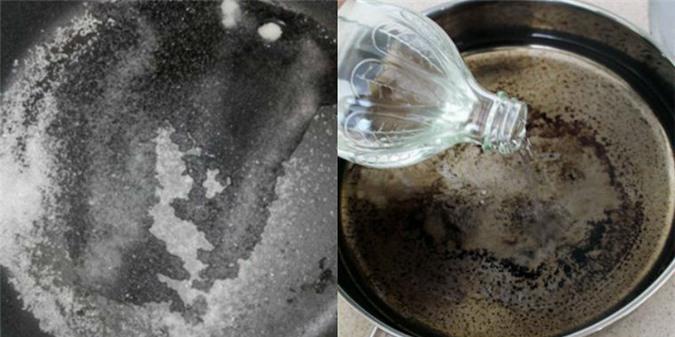 Dùng muối giấm giúp loại bỏ vết bẩn trên xoong nồi