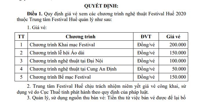 Giá vé xem các chương trình nghệ thuật tại Festival Huế 2020