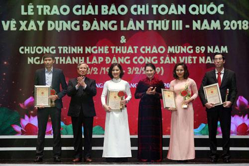 Lễ công bố và trao giải báo chí toàn quốc về xây dựng Đảng lần thứ 3. (Ảnh: Dân trí)