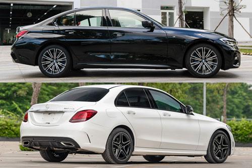 BMW 330i M-Sport và Mercedes-Benz C300 AMG (ảnh dưới).