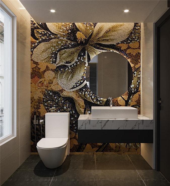 Phòng tắm nổi bật với mảng tường được trang trí bằng hoa đá.