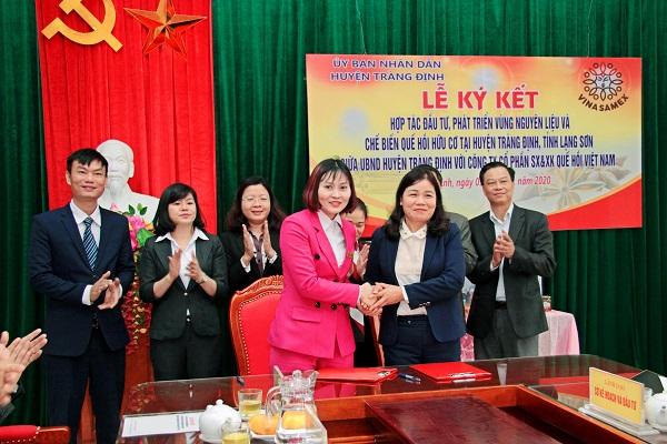 Đại diện Vina Samex và UBND huyện Tràng Định, Lạng Sơn ký thỏa thuận hợp tác đầu tư phát triển vùng nguyên liệu quế, hồi tại Lạng Sơn.