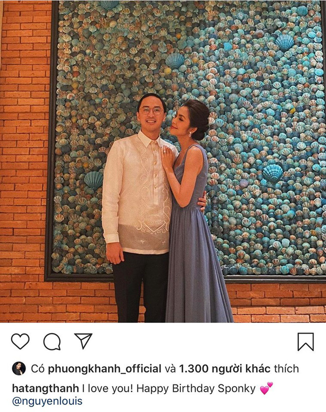 Hà Tăng đăng ảnh tình tứ bên cạnh Louis Nguyễn kèm lời chúc ngọt ngào.