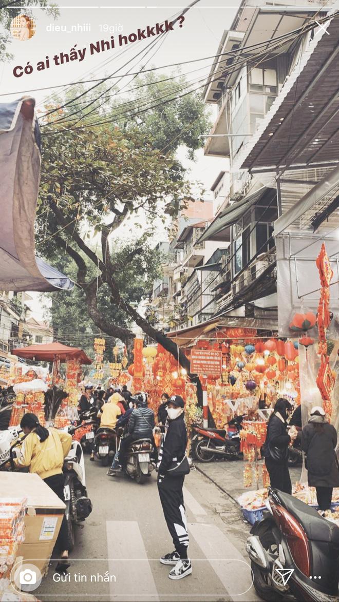 Diệu Nhi đăng ảnh đi mua sắm trên đường phố Hà Nội những ngày giáp Tết.