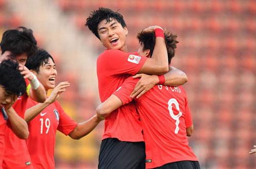 Niềm vui chiến thắng của U23 Hàn Quốc