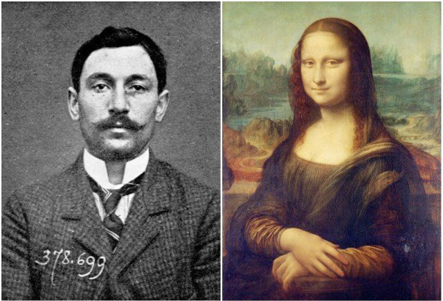 Tên trộm Vincenzo Perugia (bên trái) và bức họa Mona Lisa. Ảnh: Goran Blazeski