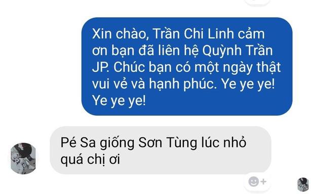 Một người yêu mến nữ vlogger Quỳnh Trần JP đã gửi ảnh so sánh giữa nam ca sĩ Sơn Tùng M-TP và bé Sa, cho rằng cả hai có nét tương đồng nhau trên khuôn mặt.
