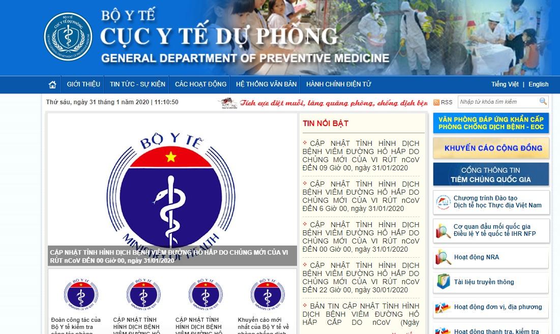 Trang web của Cục Y tế dự phòng trong tình trạng truy cập rất chậm.