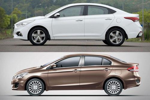 Hyundai Accent và Suzuki Ciaz (dưới).