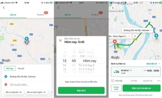 """Người dùng Grab tại Hà Nội có thể đặt trước chuyến đi GrabCar tối đa lên đến 7 ngày thông qua """"Chuyến Xe Hẹn Giờ"""""""