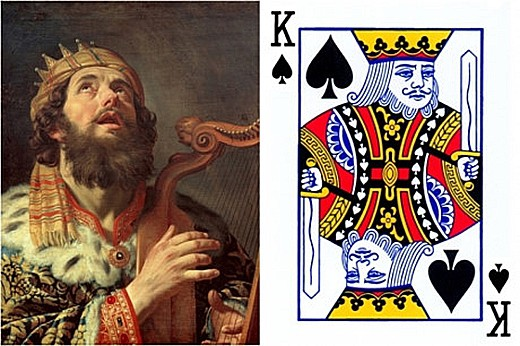 Trong bộ bài Tây, quân K bích tượng trưng cho vị vua huyền thoại có thật trong lịch sử là Vua David của Israel.
