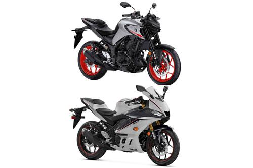 Yamaha YZF-R3 (dưới) và Yamaha MT-03 2020.