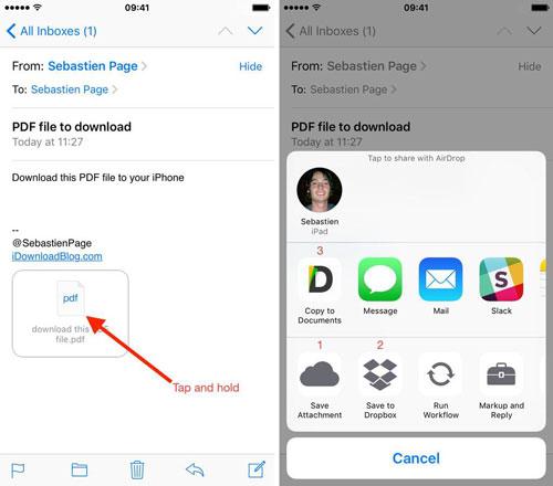 Các tệp đính kèm đôi lúc sẽ không truyền tải được hết những thông tin người dùng mong muốn. Tuy nhiên, người dùng có thể chú thích nó ngay trên ứng dụng Mail của iOS. Apple cho phép vẽ tay, viết văn bản hay thậm chí ký tên lên các tệp đính kèm này. Nhấn và giữ tệp đính kèm đến khi Menu chia sẻ xuất hiện. Chọn Markup và Reply để có thể chỉnh sửa nó.