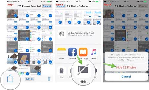 Sở hữu những hình ảnh riêng tư và có phần nhạy cảm trong điện thoại là điều khá phổ biến. Để giấu chúng, chỉ cần chọn hình ảnh, vào Chia sẻ và nhấn Ẩn. Như vậy, những bức hình riêng tư đã được ẩn đi tránh những con mắt tò mò.