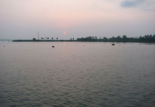 Sông Tiền là ranh giới tự nhiên giữa Châu Thành, Đồng Tháp bên hữu và Cái Bè (Tiền Giang) bên tả. Ảnh: Vietdu.