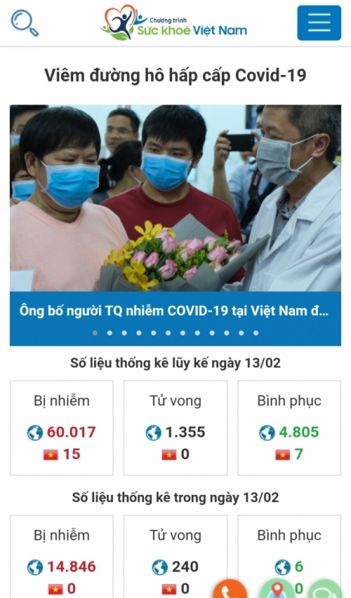 App Sức khỏe Việt Nam cập nhật thông tin nhanh nhất về dịch COVID-19 trên điện thoại thông minh.
