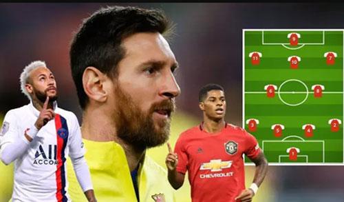 Lionel Messi, Neymar và Marcus Rashford góp mặt trong đội hình ghi nghiều bàn thắng nhất trong 5 giải hàng đầu Châu Âu.