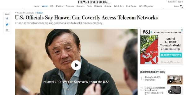 Bài báo trên Tạp chí Phố Wall khiến Huawei phản ứng mạnh mẽ.