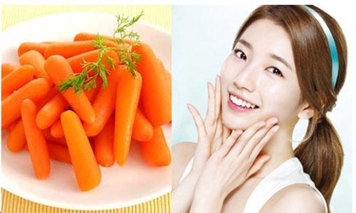 Cà rốt có công dụng dưỡng da, làm sáng da và phòng chống vết nhăn.