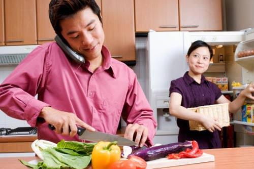 Tôi chăm chỉ làm việc nhà, với vợ tôi, việc nhà là việc của tôi.