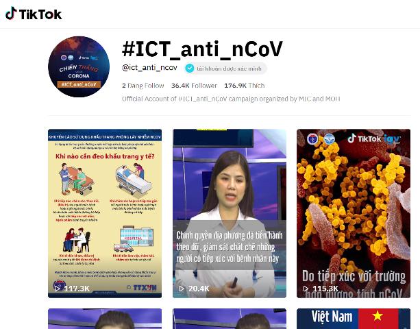 Kênh TikTok với ID @ICT_anti_nCoV sẽ đăng tải ít nhất 1-2 video mỗi ngày, mang đến cho người dùng cổng thông tin uy tín để cập nhật diễn tiến của dịch COVID-19 từ Bộ Y tế và Bộ Thông tin Truyền thông.