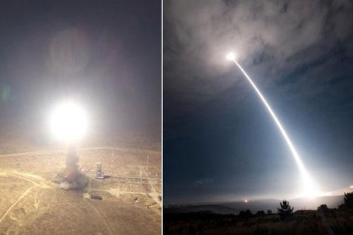 Bên trái: Tên lửa đạn đạo liên lục địa RS-12M Topol của Nga. (Nguồn: Bộ Quốc phòng Nga. Bên phải: Vụ thử tên lửa đạn đạo liên lục địa Minuteman III của Mỹ. (Nguồn: Không quân Mỹ)