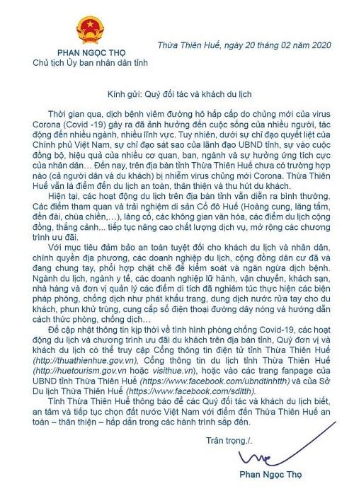 """Chủ tịch Thừa Thiên Huế gửi """"tâm thư"""" đến du khách trong mùa Covid-19"""
