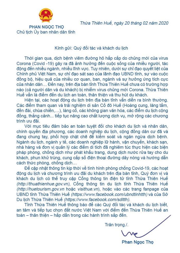 """Bức """"tâm thư"""" của Chủ tịch UBND tỉnh Thừa Thiên Huế"""