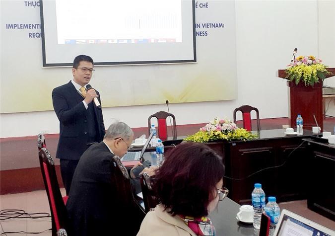 Ông Nguyễn Anh Dương, Trưởng Ban Nghiên cứu tổng hợp, Viện Nghiên cứu quản lý kinh tế Trung ương phát biểu tại Hội thảo.