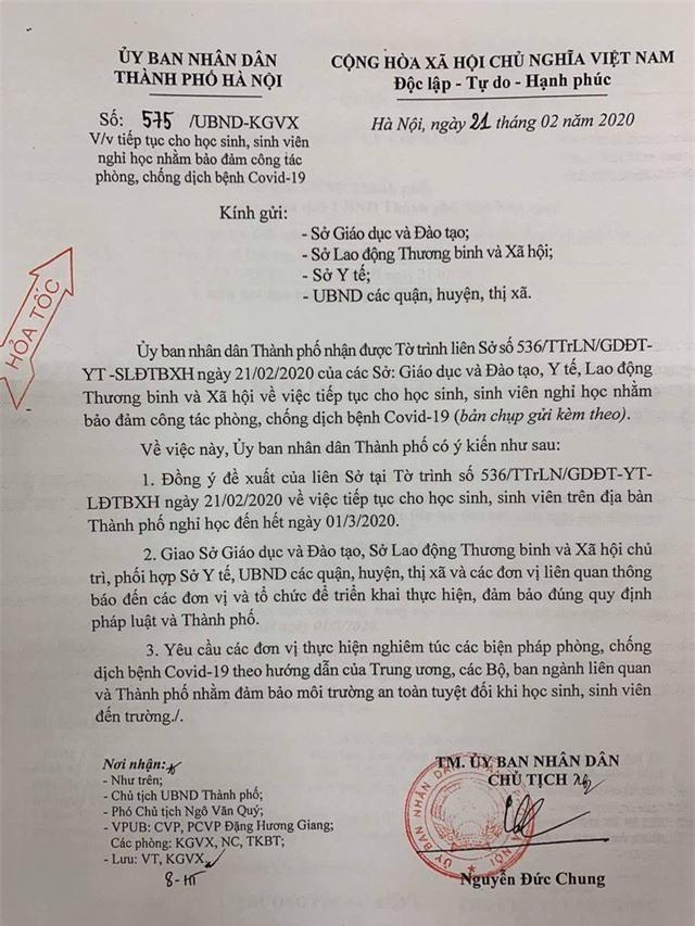 Hà Nội cho học sinh, sinh viên nghỉ học đến hết ngày 1/3 - Ảnh 1.