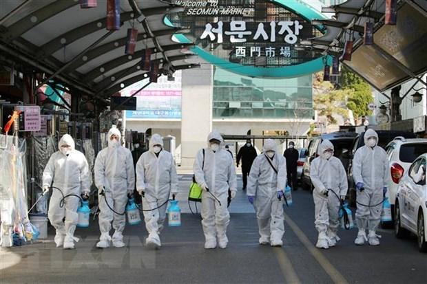Phun thuốc khử trùng tại một khu chợ ở thành phố Daegu, Hàn Quốc nhằm ngăn chặn sự lây lan của dịch COVID-19. (Ảnh: AFP/TTXVN)